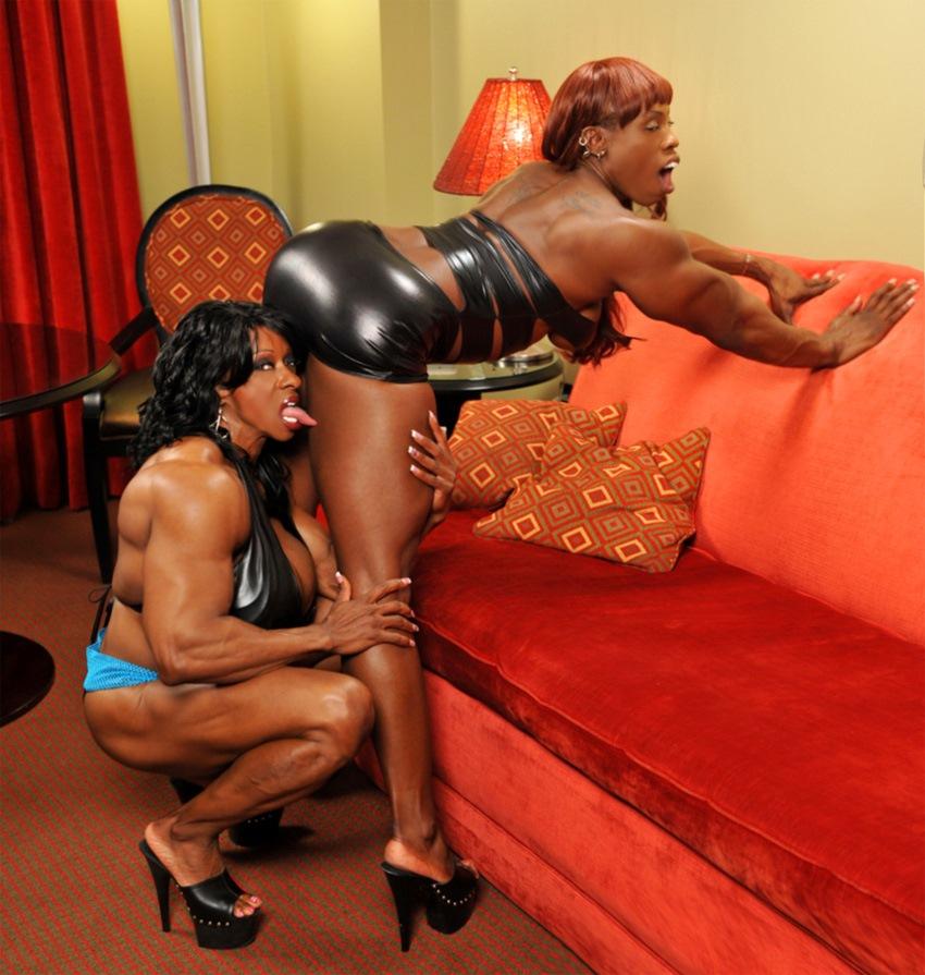 Black muscular Mistress lesbian FBB love